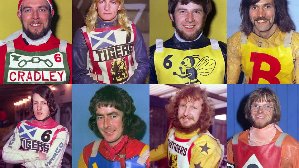 The colourful and hursuit nature of Speedway: a Sideburn mainstay. PHOTO: Alf Weedon courtesy Retro Speedway
