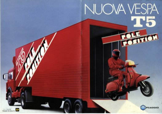 An advert for the Vespa T5