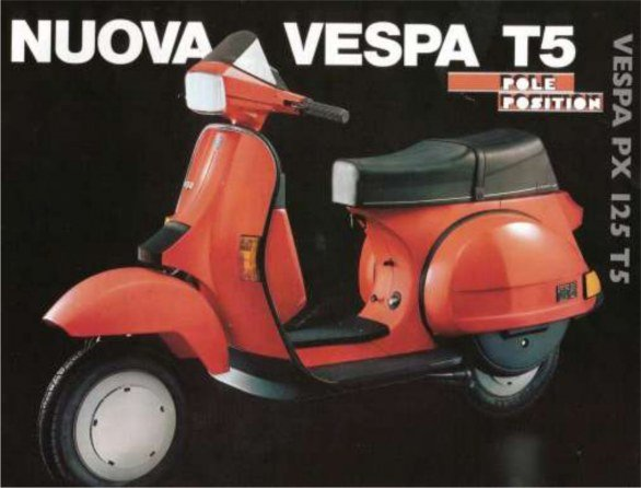 A little red and black Vespa T5