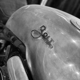 Bolt's branding proudly adorns a classy motorbike.
