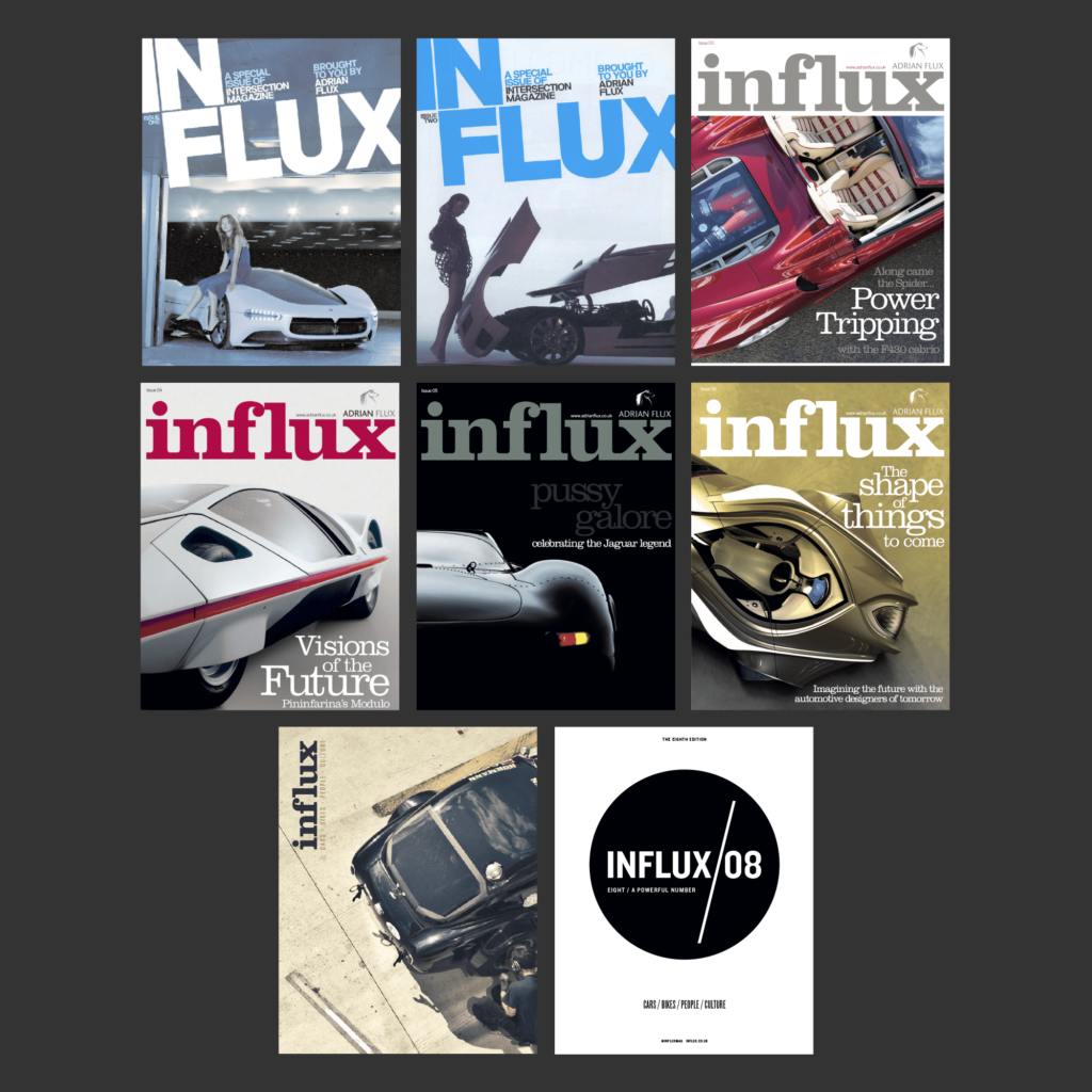A collage of Influx Magazine front covers.