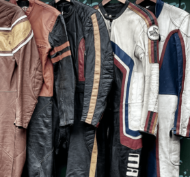 Leathers on a hanger